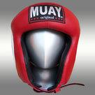 Lederen-hoofdbeschermer-MUAY-amateur-rood