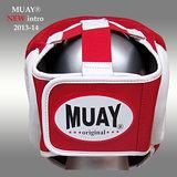 Lederen hoofdbeschermer MUAY - blauw_
