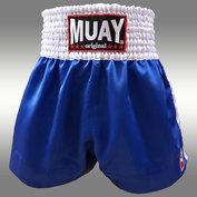 Muay Short Satijn Blauw/Wit
