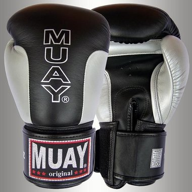 MUAY® Premium bokshandschoenen Zwart/Zilver