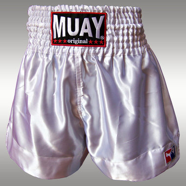 Muay Short Satijn egaal Wit