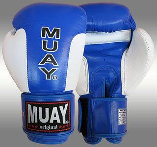 MUAY® Premium bokshandschoenen Blauw/Wit