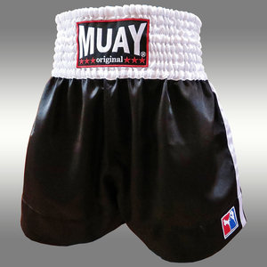 Muay Short Satijn Zwart/Wit
