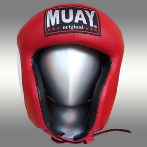 "Lederen hoofdbeschermer MUAY ""amateur"" rood"