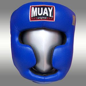 Lederen hoofdbeschermer MUAY - blauw